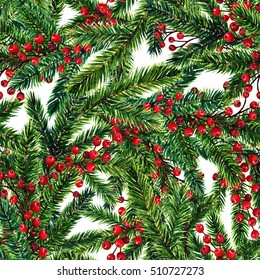 Merry Christmas, fir branches, red berries,card for you, handmade, watercolor illustrations,seamless pattern,light background