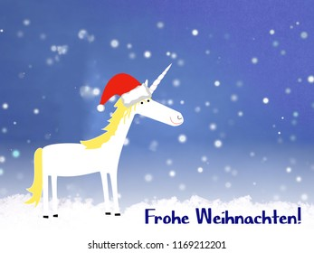 """""""Merry Christmas"""" in german language, with cute unicorn"""
