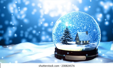 Merry Christmas gift snow globe Snowflake tree and house inside. close-up on the snow floor in blue background