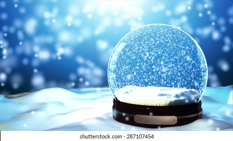 Merry Christmas gift snow globe empty inside. close-up on the snow floor in blue background