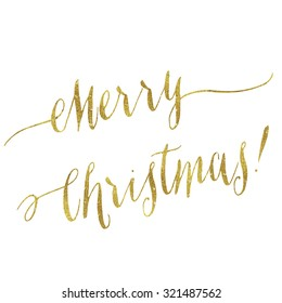 Merry Christmas Gold Faux Foil Metallic Glitter Quote Isolated