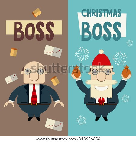 merry christmas greeting card with cartoon santa claus boss and angry boss - Christmas Wishes To Boss