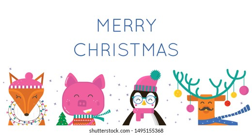 Merry Christmas greeting card with cute animals: pig,  penguin, fox, deer . Flat style of icons for presents, invitation,holiday interior design