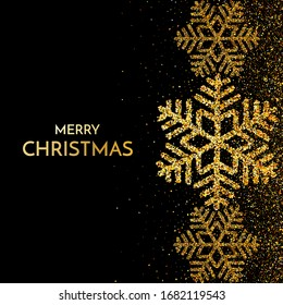 Merry Christmas greeting card. Gold snowflake and glitter on Dark background. Merry Christmas phrase. Raster version.
