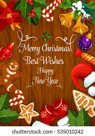Merry Christmas Greeting Card New Year Stock Vector (Royalty Free ...
