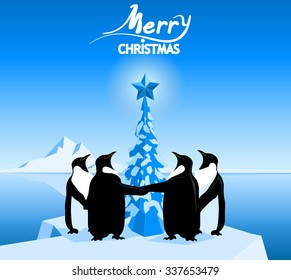 Merry christmas greeting card with penguins, pine tree with star