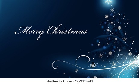 Merry Christmas greeting with decorated ornament baubles stars tree blue background