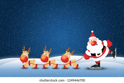Merry Christmas Greetings Background with Santa Claus
