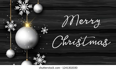 Merry Christmas Greetings with ornament and snowflakes