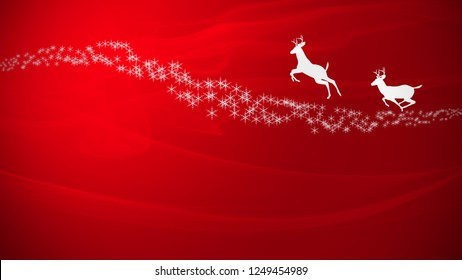 Merry Christmas Greetings red Background with reindeer and stars