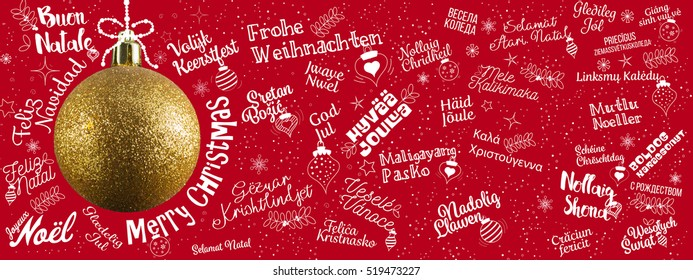Merry Christmas greetings web banner from world in different languages with golden ball tree, calligraphic text and font handwritten lettering