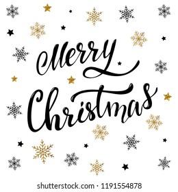 Merry Christmas hand lettering greeting card design. Christmas poster, banner, print, invitation design. Festive background template.