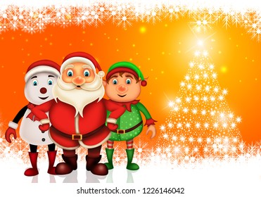 Merry Christmas happy christmas,santa with rendeer cheerful,Santa Claus and elvis in Christmas snow scene