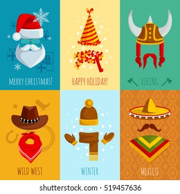 Merry christmas happy holiday viking wild west winter and mexico hats and accessories flat mini posters  illustration
