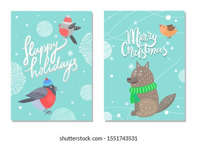 Merry Christmas and happy holidays 70s postcard with bullfinch in tiny hat and wolf in green scarf. raster illustration with cute animals and snow