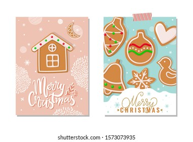 Merry Christmas happy holidays greeting poster raster. Gingerbread meal, cookies made of ginger in shape of house, ball and bell, heart and birdie