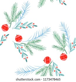 Merry Christmas and Happy New Year.  watercolor card/ pattern/ poster