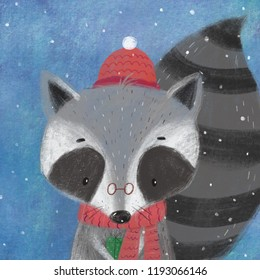 Merry Christmas and Happy New Year print. Cute raccoon illustration. Cartoon character raccoon. Print for home decor