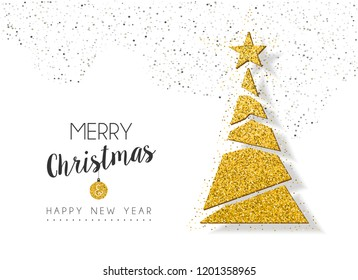 Merry Christmas and happy New Year gold xmas pine tree ornament made of golden glitter dust, holiday greeting card design.