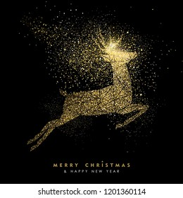 Merry Christmas and Happy New Year luxury greeting card design, gold reindeer silhouette made of golden glitter dust on black background.