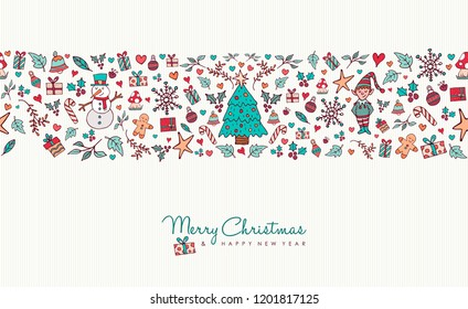 Merry Christmas and happy new year greeting card design with hand drawn holiday icon seamless pattern. Includes animals, snowman, winter decoration.