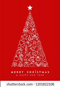 Merry Christmas and happy New Year greeting card design, red holiday line art icon illustration making pine tree shape.