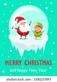 Merry Christmas and Happy New Year poster Santa and Elf in glass ball happily singing carol songs raster on snowy backdrop characters at icy cliff