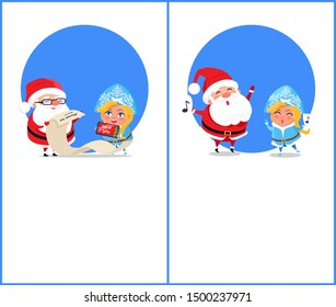 Merry Christmas and happy New Year, help of Santa Claus, Snow Maiden with phone showing list of gifts, carol singing isolated on raster illustration