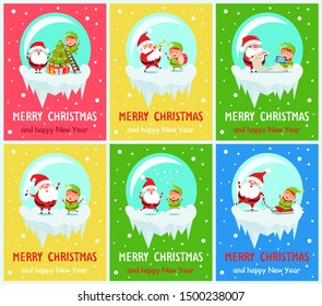 Merry Christmas and happy New Year, Santas life, characters decorating pine tree, singing carols and holding notes, isolated on raster illustration