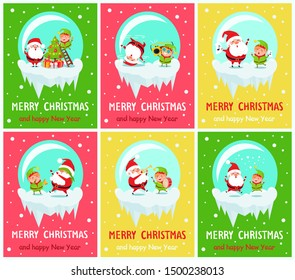 Merry Christmas and Happy New Year posters Santa and Elf in glass ball decorate tree on ladder, dance on cute music, sing carols, play trumpet raster