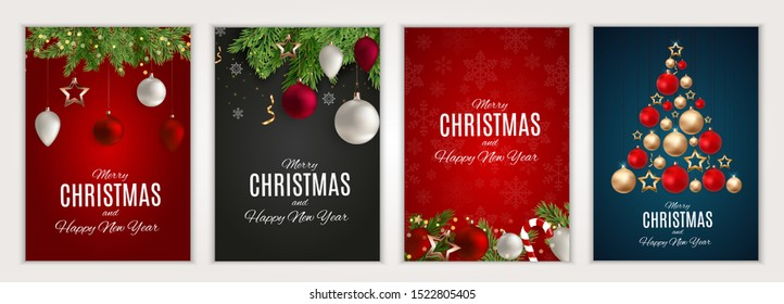 Merry Christmas and Happy New Year posters set.  illustration.