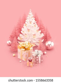 Merry Christmas and Happy New Year illustration with gift boxes and decorated Christmas tree. 3D rendering.