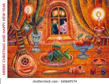 Merry Christmas and Happy New Year - cartoon illustration with a crayon