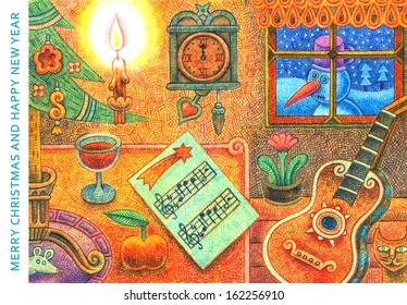Merry Christmas and Happy New Year 2 - cartoon illustration with a crayon