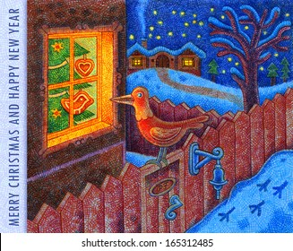 Merry Christmas and Happy New Year 3 - cartoon illustration with a crayon