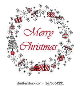 Merry christmas and Happy new year doodle greeting card with red and black christmas symbols isolated on white background. Christmas wreath, sketch drawing for your design.