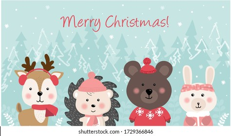 Merry Christmas and happy New year. Christmas Cute Animals Character.  Bear, Rabbit, hedgehog and deer in forest scene. Winter landscape.