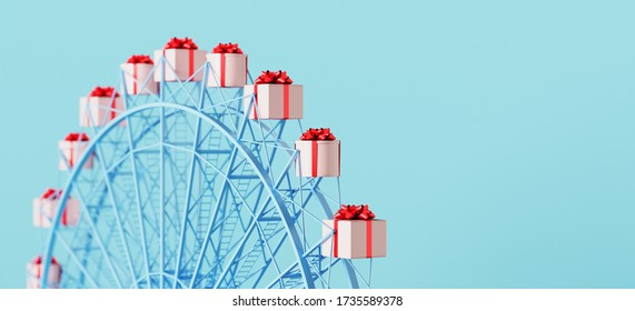 Merry Christmas and happy new year web banner. Gifts for special and happiness holiday concept. Pink gifts box with red bow ribbon on ferris wheel. 3d rendering illustration.