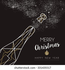 Merry christmas happy new year champagne bottle design in art deco outline style. Ideal for xmas greeting card or holiday poster.