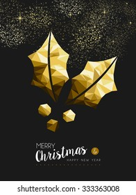 Merry christmas and happy new year fancy gold holly plant in hipster triangle style. Ideal for xmas greeting card or elegant holiday party invitation.