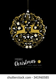 Merry Christmas Happy New Year Luxurious Golden Ornament Ball Shape On Black Background With Deer And