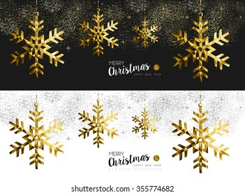 Merry Christmas Happy New Year social media cover banner set with gold low poly origami snowflake shapes on stars and firework background.
