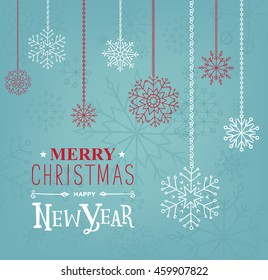Merry Christmas and Happy new Year lettering design. Season cards, greetings for social media