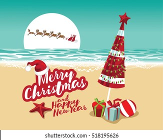 Merry Christmas and a Happy New Year in a warm climate design background. Santa Claus delivers gifts over a Beach umbrella with Christmas lights and Christmas gifts.
