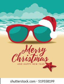 Merry Christmas and a Happy New Year in a warm climate design. Sunglasses with a Cartoon Santa Claus hat at the beach.
