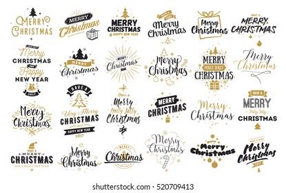 Merry Christmas Text Design Vector Logo Stock Vector (Royalty Free ...