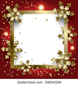 merry christmas and happy new year frame for greeting card with gold snowflakes and glitter