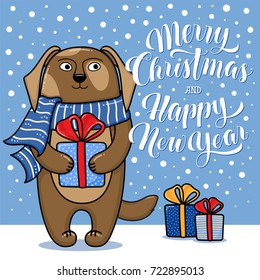 merry christmas and happy new year greeting card with dog gifts snow and lettering