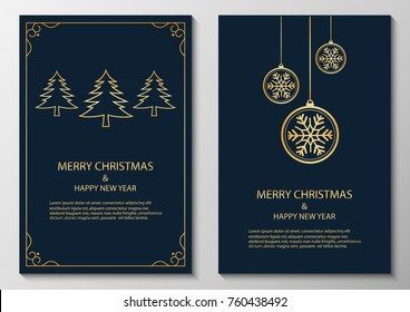 merry christmas and happy new year, greeting. illustration