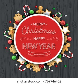 merry christmas and happy new year greeting background logo lettering with sweets cookie